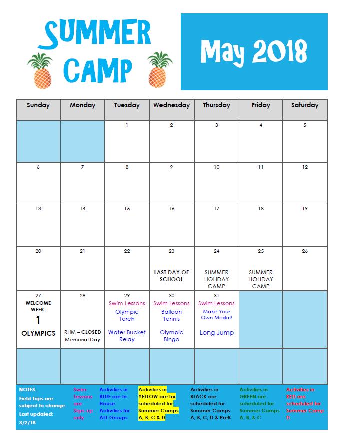 Summer Camp 2018 Richmond Hill Montessori Preschool